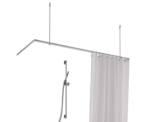 PHOS Edelstahl Design, DSU1700-700D, Duschvorhangstange U-Form für Badewannen und Duschen aus Edelstahl, 170 x 70 cm mit Deckenträger, Duschstange, Vorhangstange, Winkelstange, edel,stabil, rostfrei