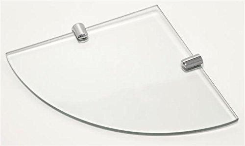 Eckregalbrett aus 6 mm dickem Glas, mit 2 verchromten Halteklammern, 200 x 200 mm