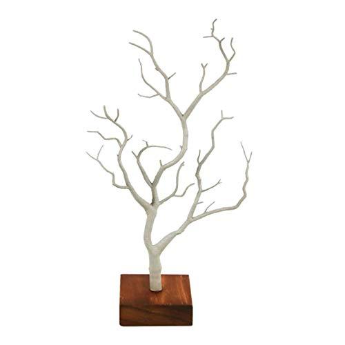 Soporte de joyería, soporte de collar, pendiente de rama de árbol de ciervo organizador, soporte de exhibición de suspensión con base plato de madera para guardar collares pulseras anillos accesorios