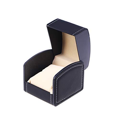 NICERIO Uhrenbox, PU Leder Armband Box Geschenkbox Schmuckschatulle mit Kissen, ideal für Weihnachten Neujahr Geburtstagsgeschenk (Schwarz)
