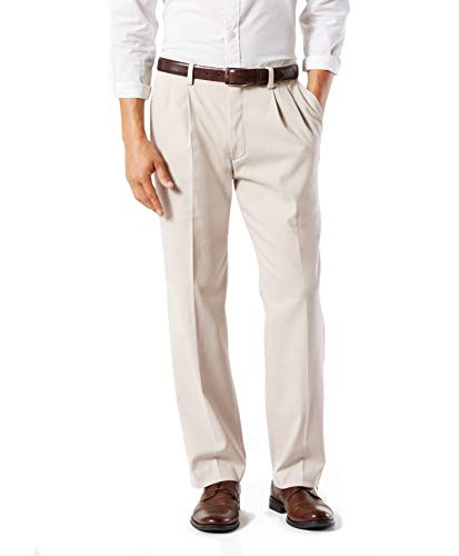 DOCKERS Men's Classic Fit Easy Khaki Pants - Pleated D3, Cloud (Stretch), 34 30
