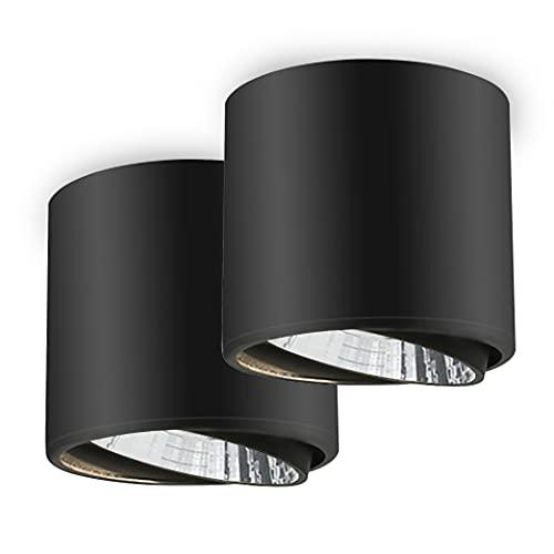 BAGZY LED Downlight Foco Redondo Ángulo Ajustable COB Montado en Superficie Lámpara de Techo Luz Abajo 3000K 7W 110-250V Orificio de Montaje75MM para Cocina de la Habitación Paquete de 2 Negro