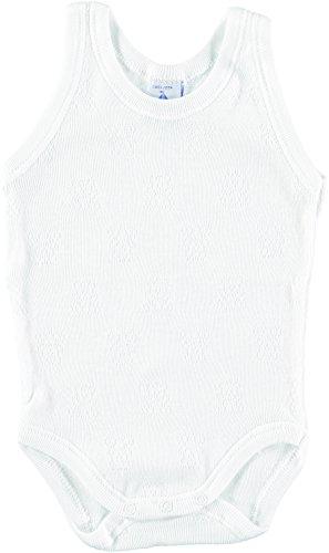 BABIDU 1115 Body Tirante Sport Calado Ositos Ropa de Bautizo, Blanco (Blanco 1), 92 (Tamaño del Fabricante:24) Unisex bebé