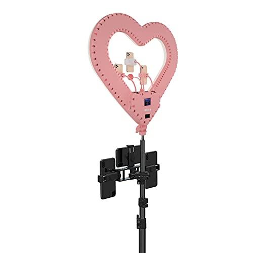YQG Anillo de luz para Selfies con Soporte de trípode Ajustable - Anillo de luz RGB Regulable Mejorado de 20'con Interruptor de Control de Cable de trípode Pantalla HD Luz de Ambiente de DJ