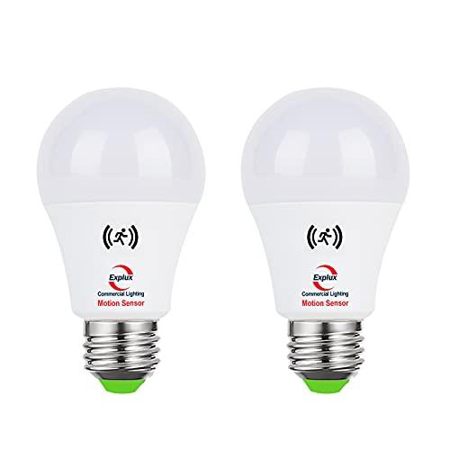 Explux A19 LED Motion Sensor Light Bulbs, 75W Equivalent, 1000 Lumens High Brightness, Security Light Bulb, 5000K Daylight, 2-Pack