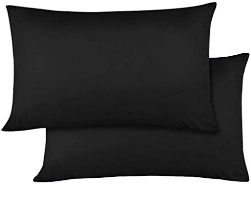 Travel Pillowcase 12x16 Size Set of 2 Zipper Closure Toddler Pillowcase 600 Thread Count 100% Egyptian Cotton Pack of 2, Travel Pillow Cover 12 x 16, Black Solid