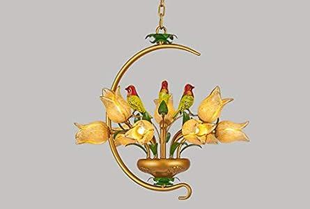 Lustre elegante de estilo floral de 9luces art décor en pájaros Metal suspensión clásica forma de flores tulipa de cristal mano dormitorio boutique blanco cálido 56* 52cm G9* 9