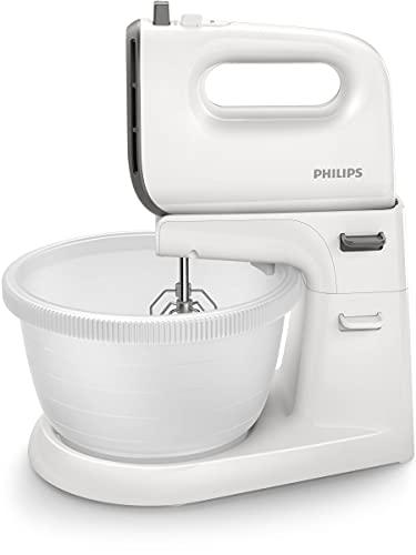 Philips HR3746/00 Handmixer (450 Watt, inkl. Ständer mit Rührschüssel, 5 Geschwindigkeiten plus Turbo) weiß/grau