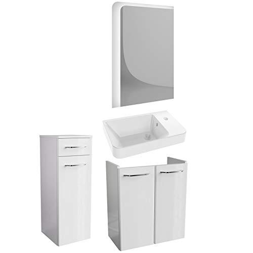 FACKELMANN weißes Hochglanz Badmöbel Set 4-TLG. Milano Gäste WC mit Waschbeckenunterschrank 55 cm & LED Badspiegel