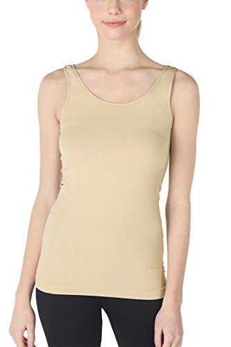 NIKIBIKI Women Seamless Plain Jersey Tank Top, Made in U.S.A, One Size (Stone)