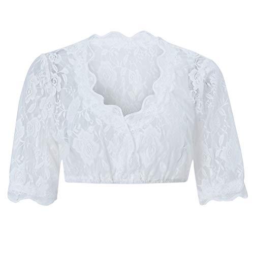 ALISISTER Trachten Damen Dirndlbluse Spitze Weiß Elegante Kurzarm Shirt Trachtenbluse für Oktoberfest 38 L