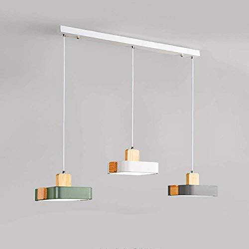 WEM Novedad Candelabro decorativo, Siet Lámparas de techo colgantes LED de 3 luces Lámpara colgante de 36 W, Lámpara de techo nórdica Lámparas de suspensión de madera de metal para comedor Dormitorio