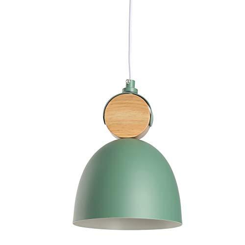Plafondverlichting Moderne Metalen Metalen Hanglamp Schaduw Kroonluchter Lamp Met Houten Fitting E32 Basis (Groen)