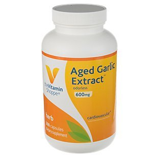 Aged Garlic Extract 600mg Capsules, Odorless Natural Powder Extract, Herbal Supplement Provides Heart Health Support, Blood Pressure Support Healthy Immune System (300 Capsules) by The Vitamin Shoppe
