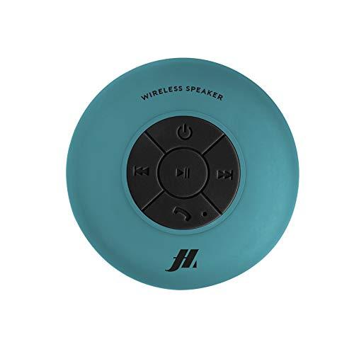 Speaker 3W con ventosa, tasti per musica e chiamate, microfono integrato e vivavoce, protetto dall'acqua per utilizzo in doccia, bagno, piscina e cucina, colore azzurro