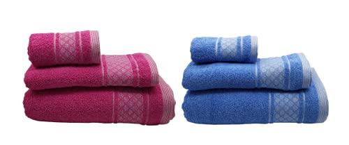 SusggO Lote 2 Juegos de 3 Toallas para el Baño Fabricadas en Portugal 100% Algodon 450gr Cenefa 6 uds 3 tamaños: 2 Ducha-baño/2 Lavabo/2 tocador (Lote 2 Juegos Toallas - OVALOS Fucsia/Azul, 450)