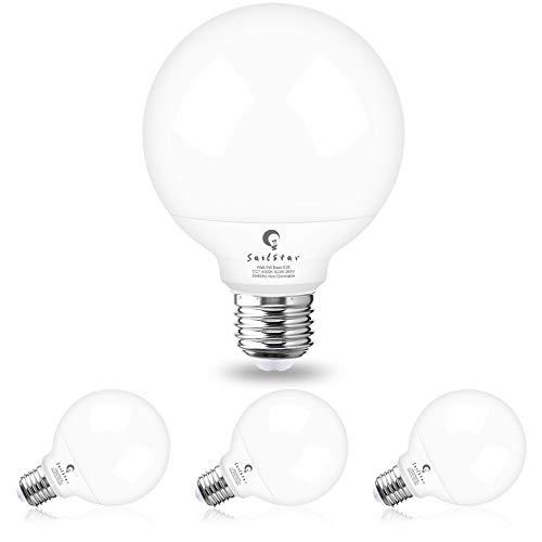 G25 LED Vanity Light Bulbs for Bathroom, Sailstar Globe Light Bulbs 5W(60 watt Equivalent), 4000K Natural Daylight White, 500 Lumen, E26 Base, Non-Dimmable, Round Light Bulbs for Bathroom, 4 Pack