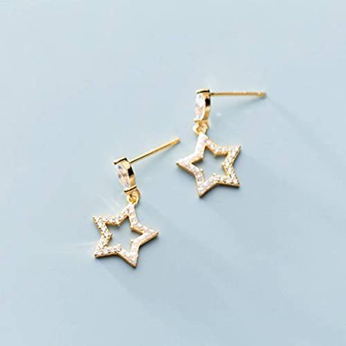 BEWITCHYU S925 Silver Earrings, Ladies' Simple Diamond-Studded Five-Pointed Star Synthetic Shell Beads Fashion Earrings Golden, 925 Silver