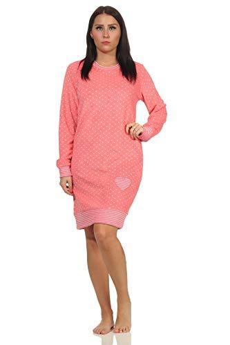 NORMANN-Wäschefabrik Damen Frottee Nachthemd mit Bündchen in Herz-Tupfen Streifenoptik - auch in Übergrössen, Farbe:Tupfen Lachs, Größe:52-54