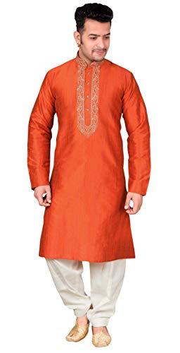 Desi Sarees Herren Salwar Kurta Pyjama Bollywood Kostüm 1849 (XXXL (Brust- 46 Zoll), Gebrannte Orange)