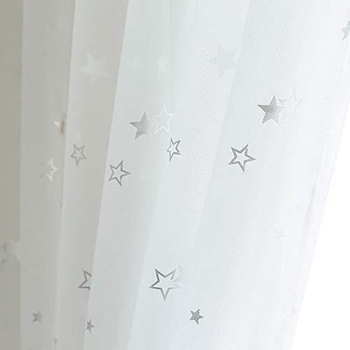 PENVEAT Light Shiny Sliver Star White Sheer Tulle Window Curtains For Living Room Bedroom Modern Yarn for Kid Room Drape,White,W500 x H270cm,Hook