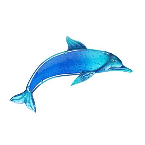 HONGLAND - Escultura de metal con delfín para decoración de pared en interiores y exteriores, decoración de cristal, color azul para el hogar, jardín, recámara ✅