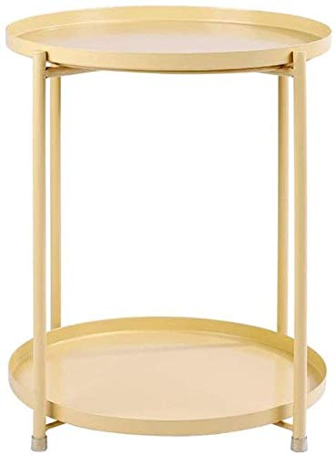 H-CAR - Tavolino da tè rotondo, in ferro battuto, con 2 ripiani, per salotto, salotto, ufficio, tavolo da lettura per casa, 44 x 52 cm, tavolino da caffè (colore: giallo)