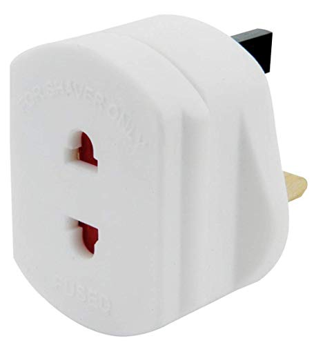 UK 2 Pin to 3 Pin 1A Fuse Adaptor Plug for Shaver/Toothbrush