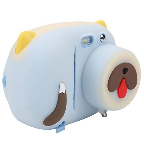Cámara digital para niños, 24MP Pantalla de 2.4 pulgadas Cámara de impresión instantánea para niños Fotografía con filtros múltiples Graffiti Grabadora de video(Máquina azul + caparazón de cachorro)