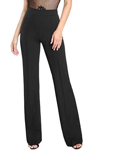 DIDK Damen Hosen Hohe Taille Breites Bein Lange Hose Palazzo Einfarbig Anzughose Büro Pants Elegant mit Reißverschluss Schwarz M