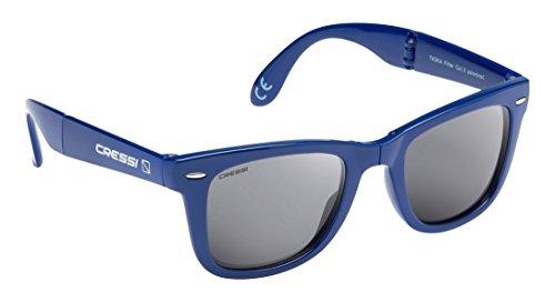 Cressi Taska, Lunettes Soleil de Poche Pliable, Polarisées 100% Anti-UV Pour Adultes, avec étui rigide , Bleu/Lentilles Gris Foncé