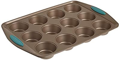 Rachael Ray Cucina Nonstick 12-Cup Muffin Tin With Grips / Nonstick 12-Cup Cupcake Tin With Grips - 12 Cup, Brown