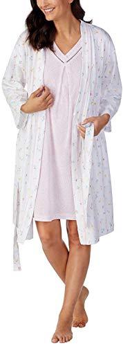 Carole Hochman Women's Jersey Knit Chemise & Robe Set (Pink, Large)