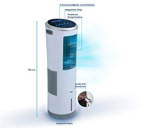 Mediashop Livington InstaChill – Klimagerät mit Verdunstungskühlung – mobiles Klimagerät mit 3 Stufen – Klimagerät ohne Abluftschlauch 12h Kühlung mit 8,5 L Tank