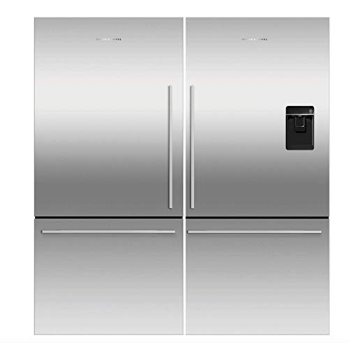 Fisher Paykel Stainless Steel Refrigerator Freezer Combo, Models RF170WDRUX5N & RF170WDLX5N, Includes Joiner Kit, Adjustable Shelves, Door Alarm, External Water Dispenser