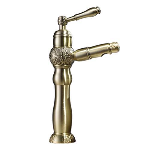 Waschraumarmaturen Wasserhahn Bad Pull Wasserhahn Hot And Cold Basin Wasserhahn Kupfer Gold Einlochmontage Wasserhahn Home Küche Balkon Wasserhahn (Color : Gold, Size : 23.5 * 17cm)