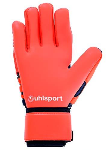 uhlsport Torwarthandschuhe Next Level-Supersoft-In den Größen 6-11 Innenhand Keeper-Handschuhe entwickelt mit Profis-Optimaler Halt und Grip, langlebig-Marine/Fluo rot, 7 - 5
