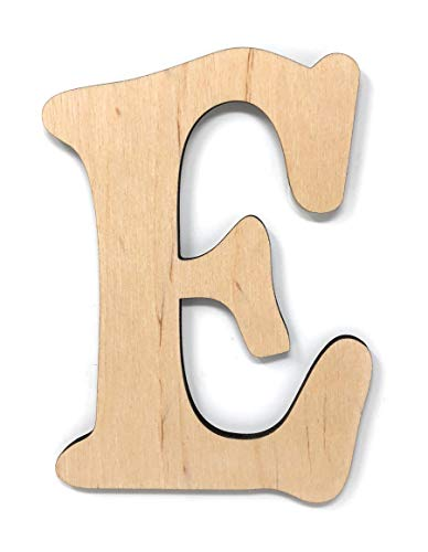 Gocutouts 12' Wooden Letter E Unfinished 1/4' Wooden Letters Paint Ready Unfinished Wall Decor Craft Cutout (12' - 1/4' Thick, E)