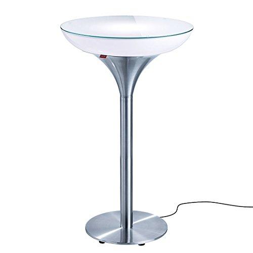 Moree Table de bar Lounge M 105 Outdoor - Avec éclairage led multicolore + télécommande