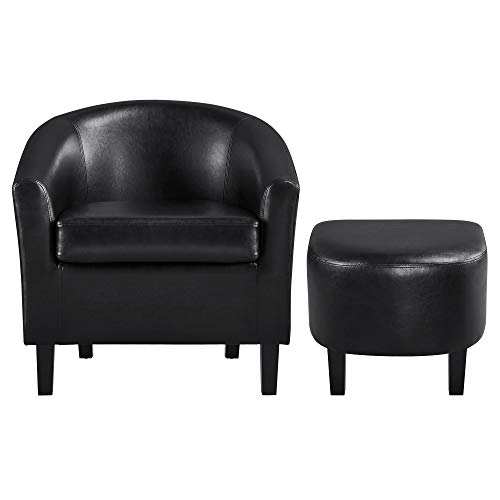 YAHEETECH Contemporary Club Chair for Living Room Accent Arm Chair Tub Chair Upholstered Barrel Chair and Ottoman Set for Living Room Guestroom Bedroom
