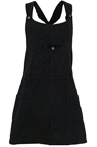 Guru-Shop Latzrock, Trägerkleid, Hippierock, Damen, Schwarz, Baumwolle, Size:L (40), Röcke/Kurz Alternative Bekleidung
