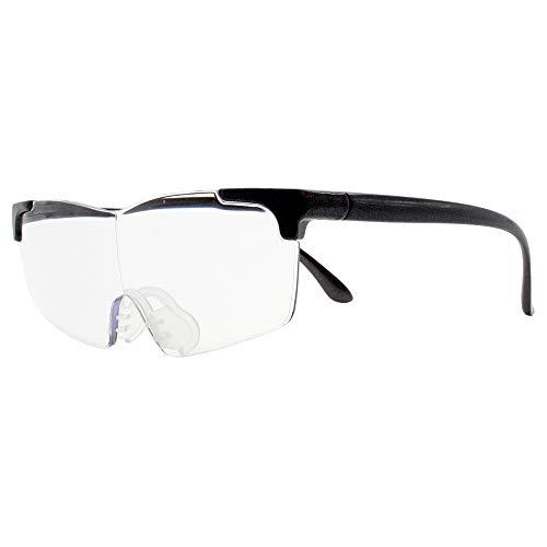 メガネ型ルーペ スタンダード 1.6倍 拡大鏡 メガネ巾着(拭き) 付き ルーペ オーバーグラス (ブラック)