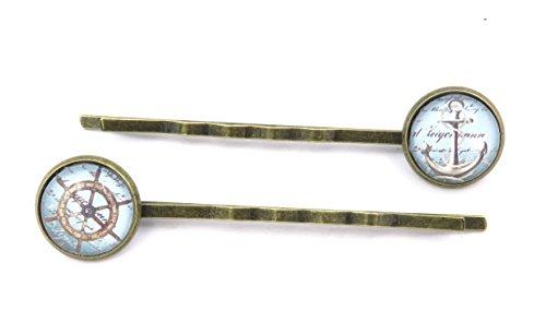 schmuck-stadt Anker Steuerrad Motiv Cabochon Haarspangen bronzefarben maritim Haarklemmen