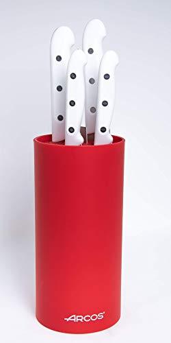 Arcos Artika - Jeu de Couteaux 4 pièces - Acier Inoxydable NITRUM - Manche Blanc - Bloc Couleur Rouge