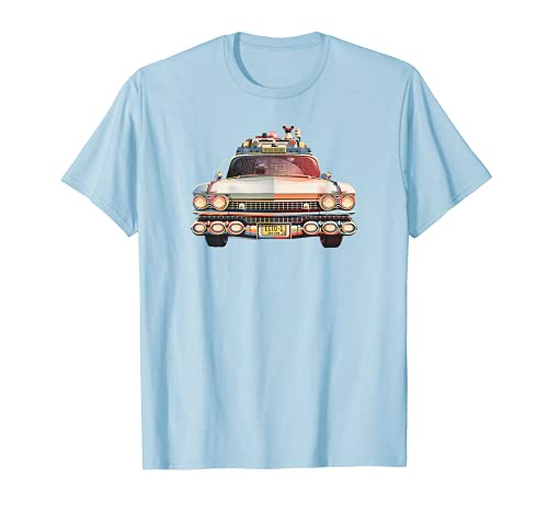 Ghostbusters Ecto-1 Car T-Shirt, Light Blue, 5 Colors Available for Adult, Youth Sizes