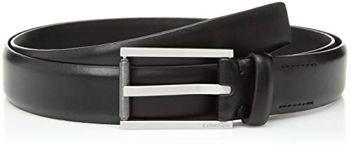 Calvin Klein Men's Feather Edge Dress Belt with Textured Roller Buckle, black, 38
