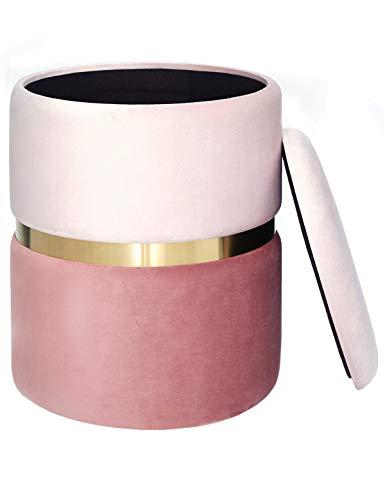 Pouf Contenitore Sgabello Rotondo Poggiapiedi Puff in Velluto Coperchio Rimovibile per Salotto Tavolo da Trucco Camera Corridoio Toeletta Metallo Dorata Moderno Rosa