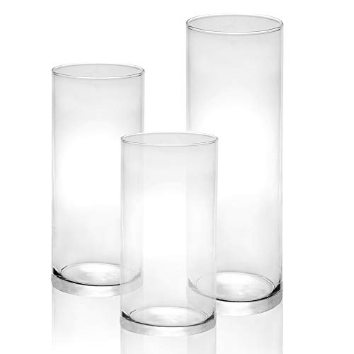 Glass Candle Cylinders - Set of 3 | Assorted Holders for Pillar Candles | Home Cylinder Vases | Crystal Clear Candle Holder Set | M&W