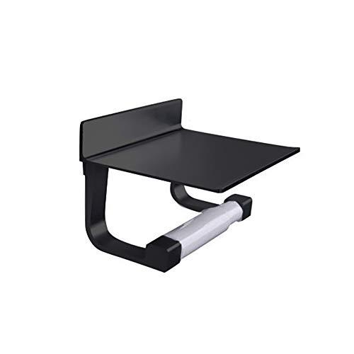 Funie Toilettenpapierhalter/Toilettenpapierhalter aus Aluminium, Wandmontage, für Badezimmer, Taschentücher, Telefonregal, Werkzeug, Schwarz OneSize Schwarz