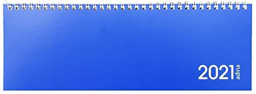 Tischquerkalender 1 Woche auf 1 Seite Kartondeckel Schreibtischkalender Tischkalender Marke ADINA 30x10cm (2021, blau)